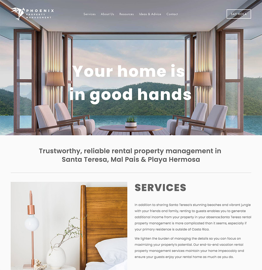Website layout sample from Radical Strategies